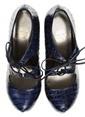 Divarese Deri Platform Topuklu Ayakkabı Mavi